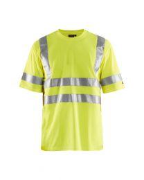 Huomiovärinen t-paita Blåkläder 3413 Kangas on hengittävä ja heijastimet on ommeltu paitaan näkyvyyden lisäämiseksi.